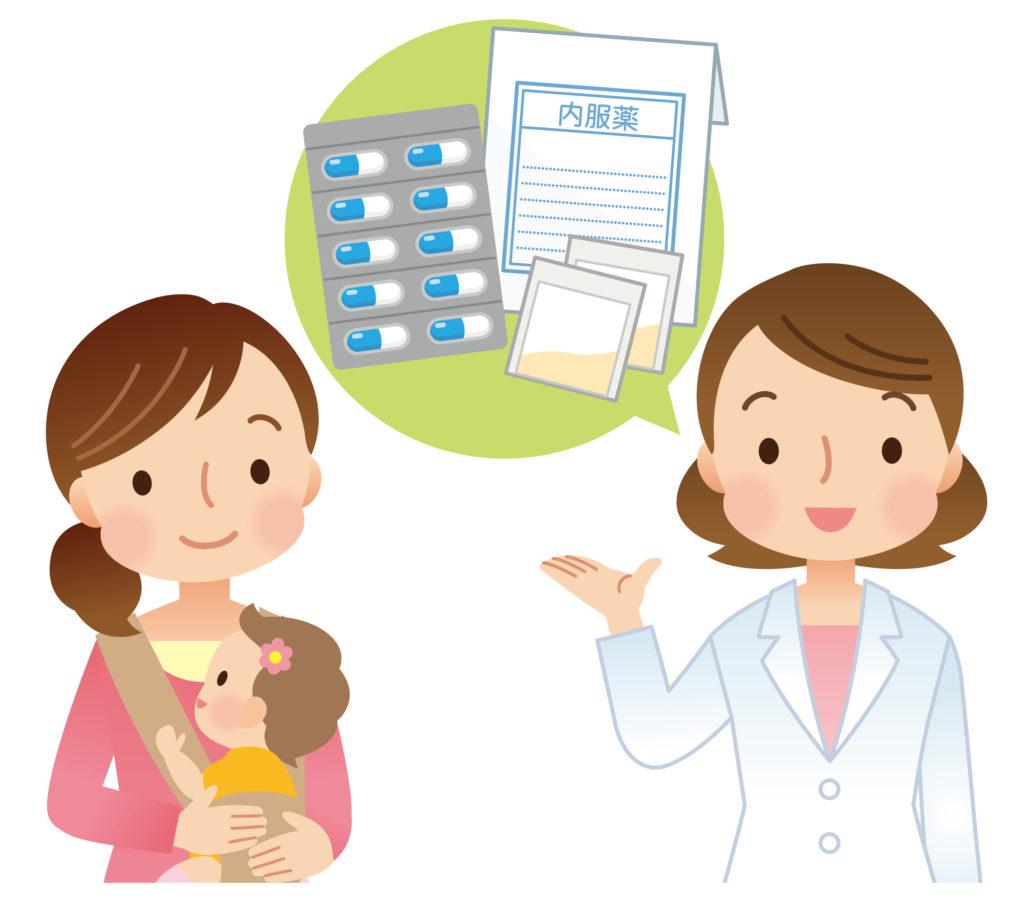 医師の服薬指示に従う母親