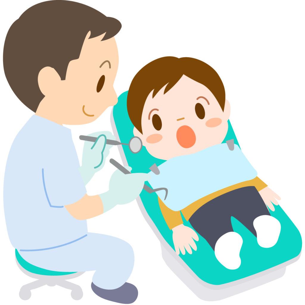 小児歯科医師の検査を受ける子ども