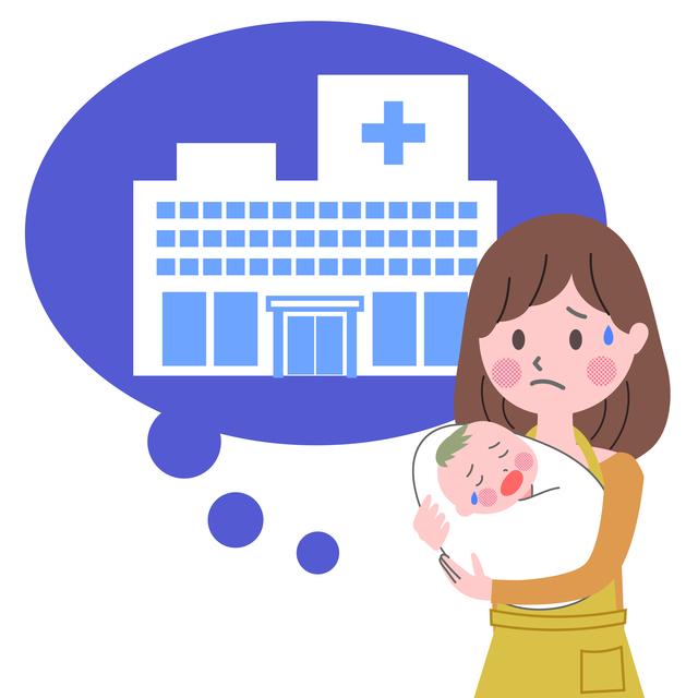 赤ちゃんを病院に連れて行く母親